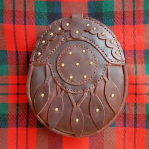 The Kilt Experience Hand-stitched Leather Hunting Sporran, Praline Leather, MacDuff Tartan