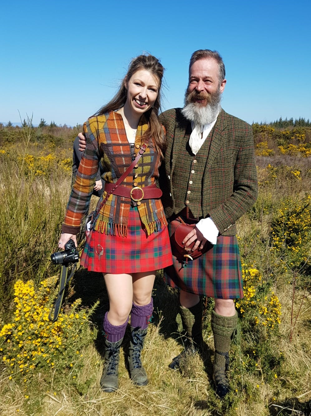 Handsewn made-to-measure kilts, handstitched leather Antler Sporran and Leather Kilt belt, Robertson tartan kilt, MacDuff Tartan kilt, Tweed kilt jacket and waistcoat, House of Cheviot socks, Culloden, Scotland