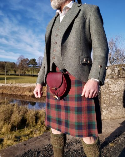 The Kilt Experience Handsewn Kilt, made-to-measure Elliots Estate Tweed outfit, Hand-stitched leather Antler sporran, House of Cheviot Socks, Made in Scotland, Scottish Borders