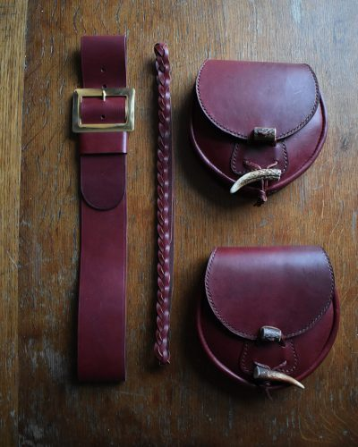 The Kilt Experience Hand-stitched Leather Antler Sporrans, Leather Kilt Belt, Leather Sporran Belt Handmade in Scotland
