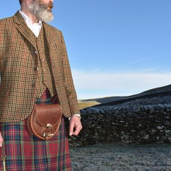 The Kilt Experience Lovat Tweed Waistcoat and Jacket Kilt Outfit and Leather Antler Sporran