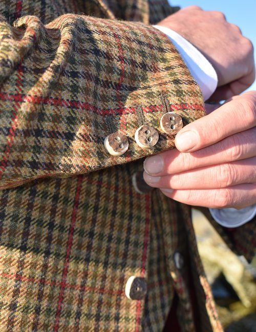 The Kilt Experience Tweed Kilt Jacket and Waistcoat, handmade Scottish Red deer antler Buttons, Kilt Outfit Made in Scotland